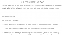 $100 Visa Gift Card Giveaway - A2 Milk