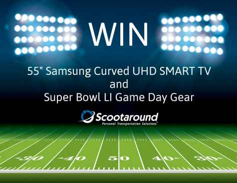 "55"" Samsung Curved UHD TV + Super Bowl LI Game Day Gear Giveaway - Scootaround"