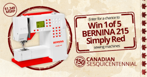 Canadian Sesquicentennial - Win 1 of 5 BERNINA 215 Simply Red Sewing Machines - BERNINA Canada