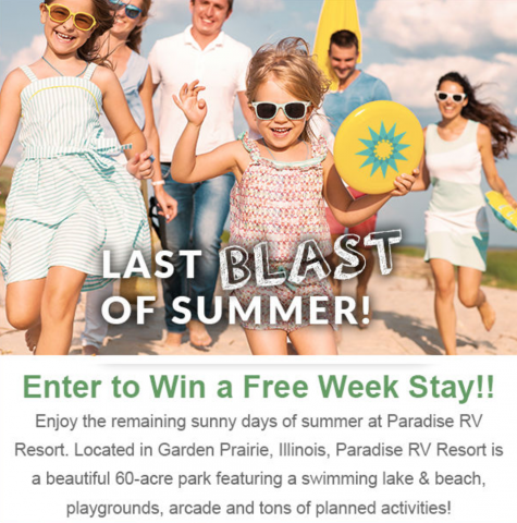 Free One Week RV Stay Giveaway - Paradise RV Resort