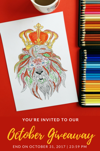 [Unibul Press] October 2017 Adult Coloring Book with Animals + 72 PREMIUM Colored Pencils Set Giveaway! - Uninbul Press