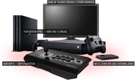 Win PS4 Pro or Xbox One X gaming monitor HDD fightstick - FocusAttack