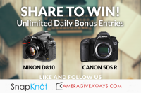 Nikon D810 or Canon 5DS R Giveaway - CameraGiveaways and SnapKnot