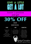 30% off Quig Creatives advertising marketing and design services - www.quigcreative.com