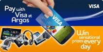 You could be one of more than 1000 winners in our amazing prize giveaway when you pay with Visa at Argos. - www.argos.co.uk