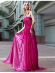 Pink Strapless Pleated Beaded Chiffon Prom Cocktail Dress BD30593 - www.promdressonlineshop.co.uk